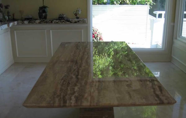 Travertine Table Before & After