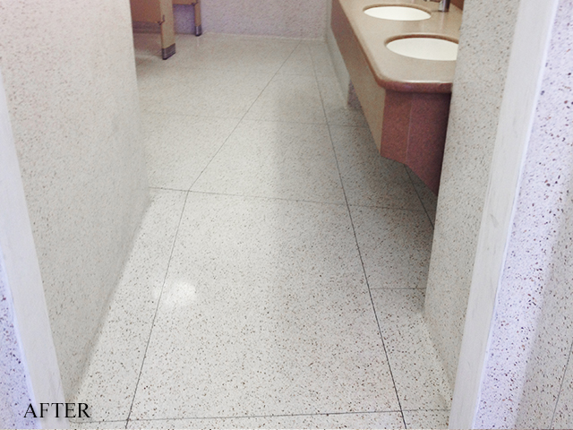 Terrazzo Bathroom Floor After