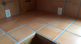 Tile and Grout Kitchen Countertop, Deep Cleaned and Grout Lines Color Sealed
