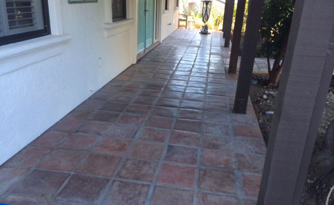 Tecate Paver Porch Before Cleaning and Sealing
