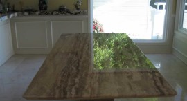 Travertine Tabletop After Honing and Polishing