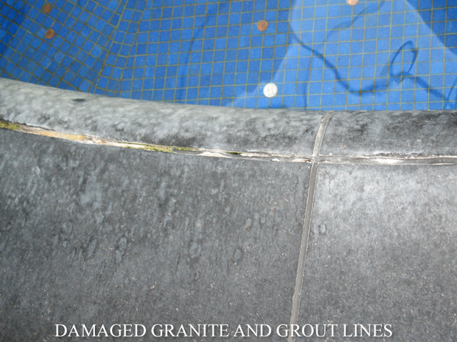 Damaged Granite and Grout Lines